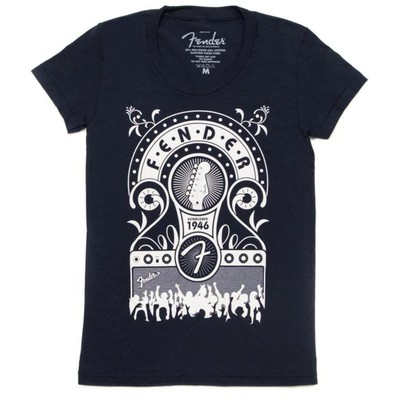 Fender T-shirt 'Jukebox' - Donkerblauw L (dames)