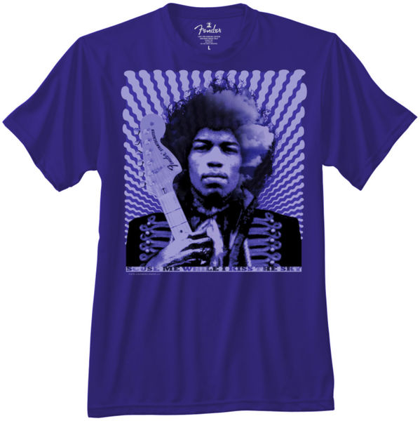 Fender T-shirt 'Hendrix Kiss The Sky' - Blauw L